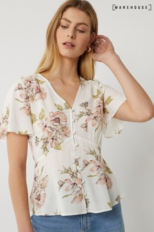Warehouse Natural Floral Button Through Tea Top