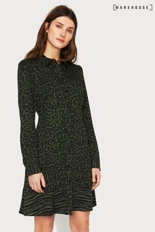 Warehouse Green Mixed Animal Shirt Dress