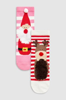 Fluffy Christmas Socks Two Pack (Younger)