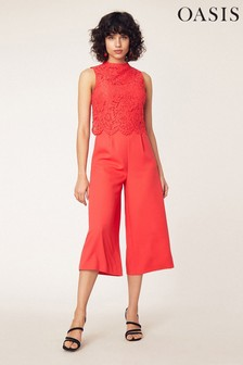 Oasis Red Lace Bodice Jumpsuit