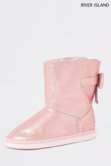 River Island Pink Faux Fur Lined Boot