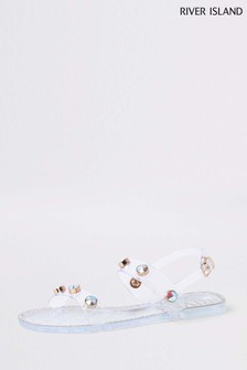 River Island Clear Stud Jelly Sandal