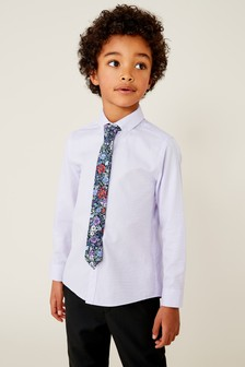 Long Sleeve Shirt With Floral Tie (3-16yrs)