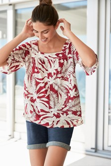 Flute Sleeve Square Neck Top