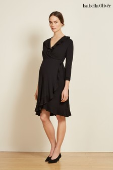 Isabella Oliver Black Aurelia Maternity Wrap Dress