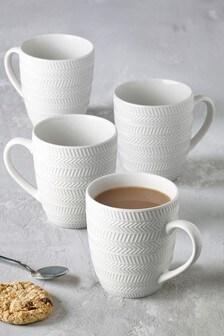 Set of 4 Embossed Chevron Mugs
