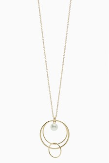 Double Circle Pearl Long Pendant Necklace