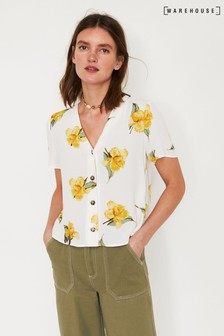 Warehouse Cream Katy Floral Button Front Top