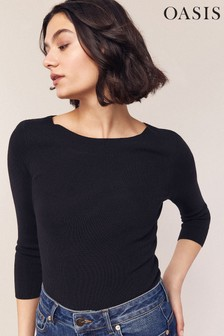 Oasis Blue Carly Curved Boat Neck Top