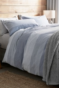 Textured Nautical Stripe Duvet Cover And Pillowcase Set