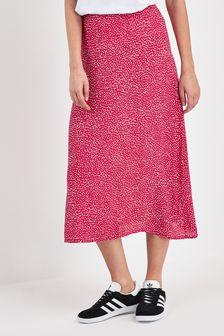 Spot Print Midi Skirt