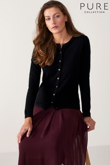 Pure Collection Black Cashmere Crew Neck Cardigan