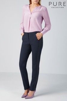 Pure Collection Blue Tailored Slim Leg Trouser