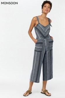 Monsoon Ladies Blue William Stripe Linen Crop Jumpsuit