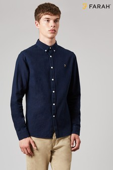 Farah Blue Brewer Indigo Slim Long Sleeve Shirt