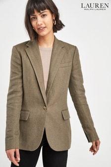 Lauren Ralph Lauren Khaki Wilona Tweed Blazer