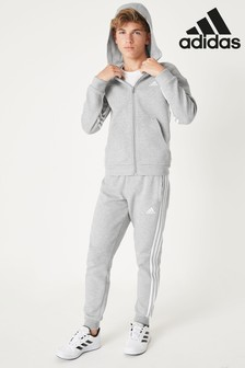 adidas Grey 3 Stripe Fleece Joggers