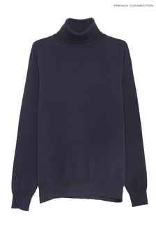 French Connection Blue Stretch Cotton Roll Neck