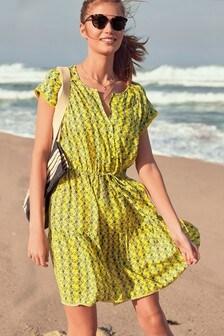 Lace Trim Drawstring Dress