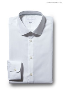 French Connection White Slim Fit Single Cuff Shirt