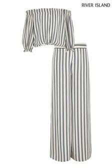 River Island Stripe Bardot Top And Wide Leg Trouser Set