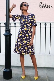 Boden Navy Painted Peony Alexis Jersey Dress