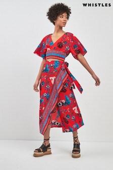 Whistles Red Scarf Print Border Wrap Skirt