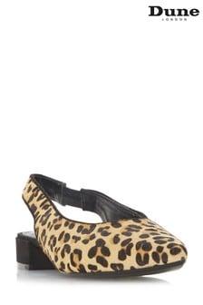 Dune London Leopard Block Heel U Cut Slingback