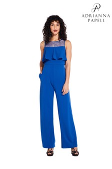 Adrianna Papell Blue Knit Crepe Lace Jumpsuit