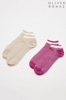 Oliver Bonas Pink Double Welt Trainer Socks Two Pack