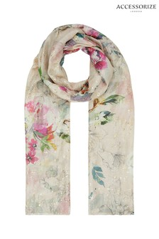 Accessorize White Wow Amelie Etched Foil Silk Stole Scarf