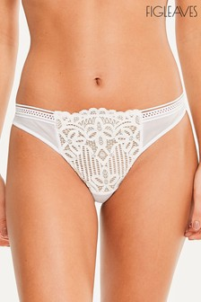 Figleaves White Harper Geo Lace Thong