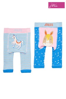 Joules Blue Lively Unicorns Character Legging Two Pack