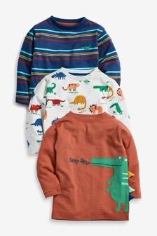 3 Pack Long Sleeve Crocodile T-Shirts (3mths-7yrs)