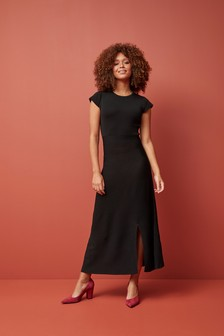 Fluted Cut Out Back Dress