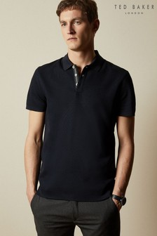 Ted Baker Blue Gforce Ribbed Polo Top