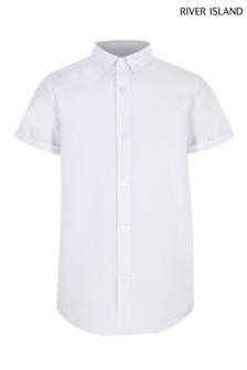 River Island White Short Sleeve Twill Shirt