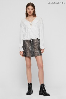 AllSaints White Stripe Penny Twist Front Shirt
