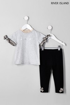 River Island Grey Bow Detail Tee And Legging Set