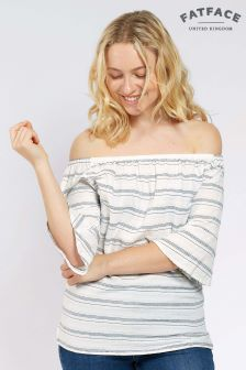 FatFace White Louisa Stripe Bardot Top
