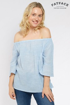 FatFace Chambray Louisa Texture Bardot Top