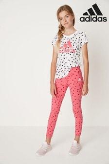 adidas Leggings mit Punkten, pink