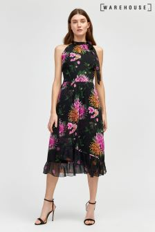 Warehouse Black Chrysanthemum Halter Dress