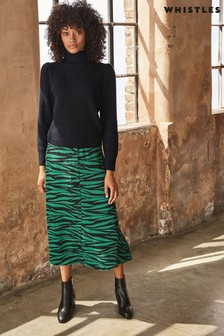 Whistles Green Tiger Print Button Through Skirt