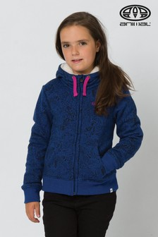 Animal My World Kapuzenjacke mit Sherpafutter, Blau meliert