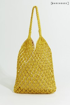 Warehouse Yellow Knotted Shopper Bag