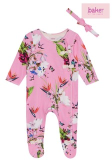fe5c0336dbcc2 baker by Ted Baker Pink Sleepsuit And Hairband Set