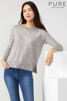 Pure Collection Grey Relaxed Split Hem Sweater with Cashmere