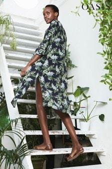 Oasis Blue Delray Longline Viscose Kimono