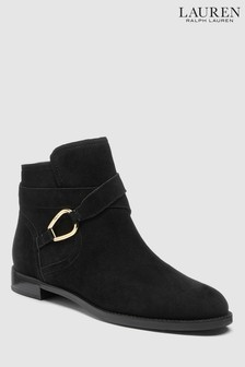 Ralph Lauren Black Suede Buckle Boot